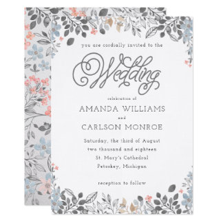 Country Floral Wedding Invitation