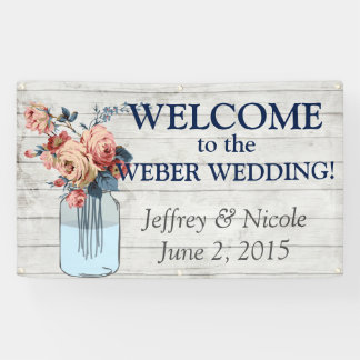 Country Floral Wood Mason Jar Wedding Banner