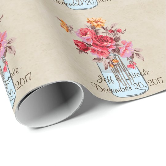 Country Floral Wood Mason Jar Wedding Wrapping Paper