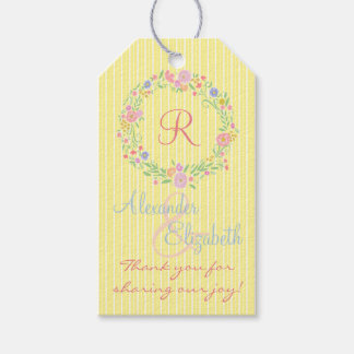 Country Floral Wreath Monogram Wedding Thank You Pack Of Gift Tags