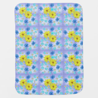 Country Flower Bouquet in Blue and Yellow Baby Blanket