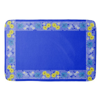 Country Flower Bouquet in Blue and Yellow Bath Mat