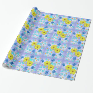 Country Flower Bouquet in Blue and Yellow Wrapping Paper