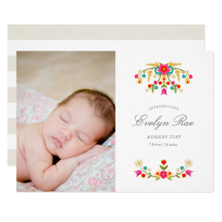 Country Flowers Birth Announcement
