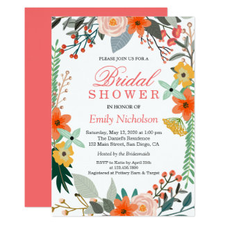 Country Flowers Bridal Shower Invitation