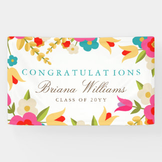 Country Flowers Graduation Banner
