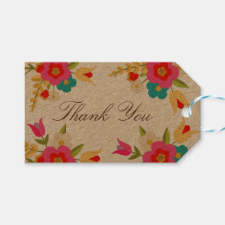 Country Flowers Thank You Pack Of Gift Tags
