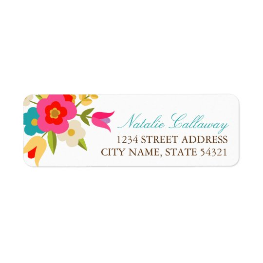 Country Flowers Wedding Return Address Labels