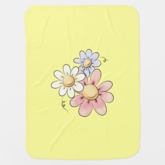 Country Flowers Yellow Unisex Receiving Blankets