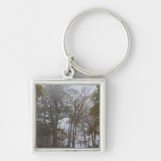 Country Foggy Fall Morning Silver-Colored Square Keychain