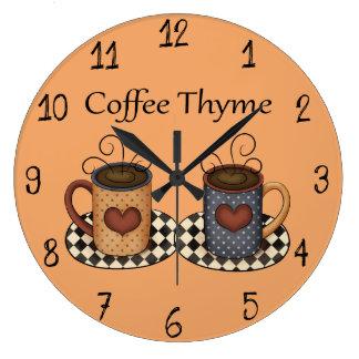 Country Folk Art Kitchen Coffee Design Wall Clock