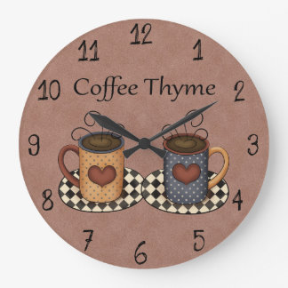 Country Folk Art Kitchen Coffee Design Wall Clocks
