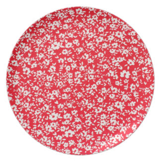 Country French Tiny Red Florets Melamine Plate
