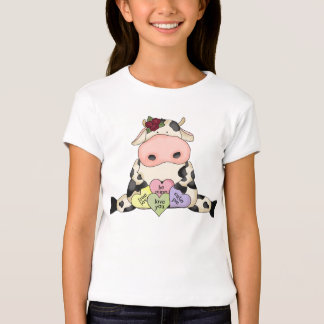 Country Fun Cow Valentine's Girls Baby Doll Shirt
