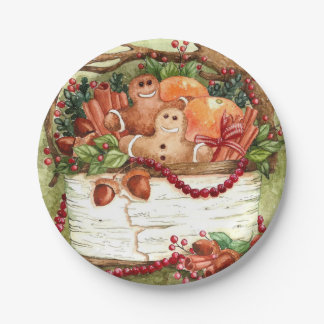 Country Gingerbread Basket Paper Plate