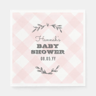 Country Gingham Baby Shower Napkin