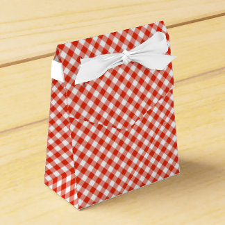 Country Gingham Check Pattern Red Favor Box