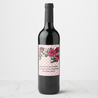 Country Gingham checks with Floral Petunia Spray Wine Label