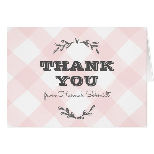 Country Gingham Thank You Card