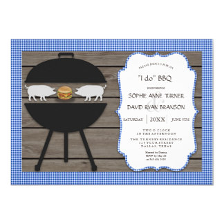 Country Gingham Wood I DO BBQ Engagement Party Card