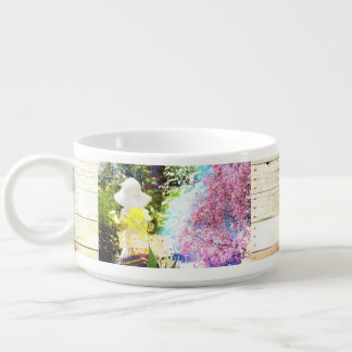 Country Girl Collage Pink Flower Cottage Style Chili Bowl