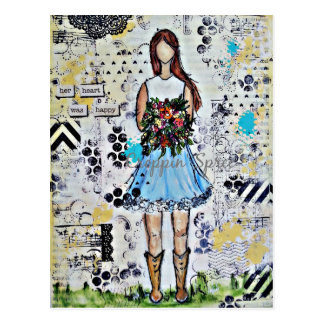Country Girl. Original Mixed Media Art Postcard