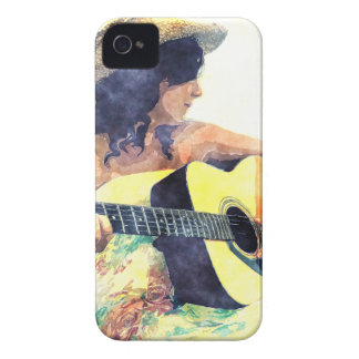 Country Girl with Acoustic Guitar Water Color iPhone 4 Cover