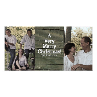 Country Gray Barn Two Photo Christmas Card Customized Photo Card