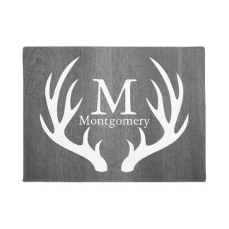 Country Gray Wood White Deer Antlers Family Name Doormat