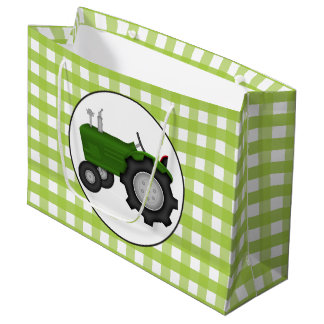 Country green gingham style party tractor bag