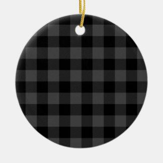 Country grey and black plaid ceramic ornament