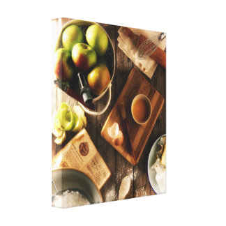 Country Harvest Kitchen Autumn Baked Apple Pie Canvas Print