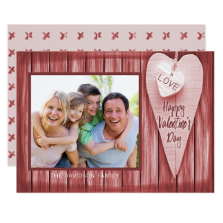 Country Hearts Barn Wood Valentine's Day Card