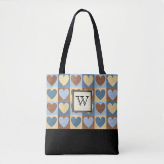 Country Hearts with Monogram Tote Bag