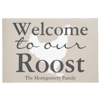 Country Hen Welcome to our Roost Family Name Doormat