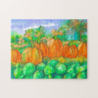 Country Home Pumpkin Patch Autumn Season Jigsaw Puzzle