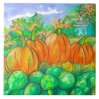 Country Home Pumpkin Patch Autumn Trees Tile
