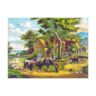 Country Home Vintage Painting Canvas Print