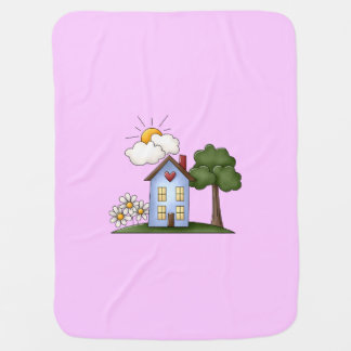 Country House Pink Girls Receiving Blankets