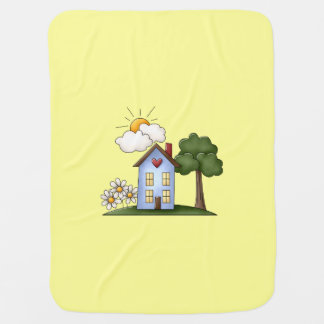 Country House Yellow Unisex Swaddle Blanket