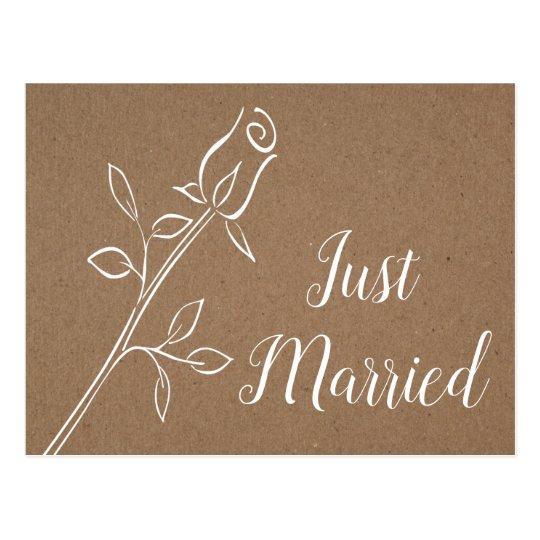 Country Just Married Flower Brown Kraft Wedding Postcard