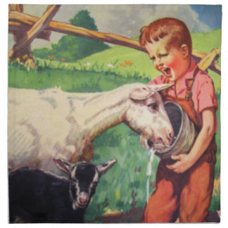 Country Kids Napkins-Goat and Boy Cloth Napkin