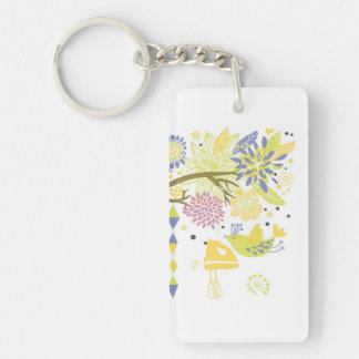 country kitchen - hand mixer on floral. Double-Sided rectangular acrylic keychain
