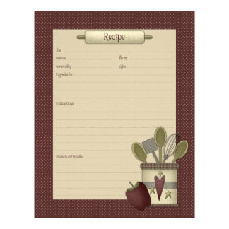 Country Kitchen · Recipe Sheets