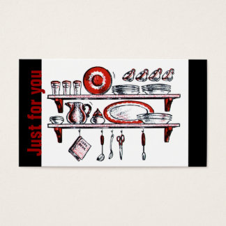 Country Kitchen   Retro Gift Card Black White Red