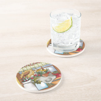 Country Kitchen Window, Rooster Beverage Coaster
