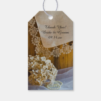 Country Lace and Flowers Barn Wedding Favor Tags