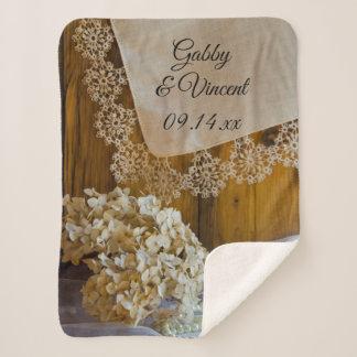 Country Lace and Flowers Barn Wedding Keepsake Sherpa Blanket