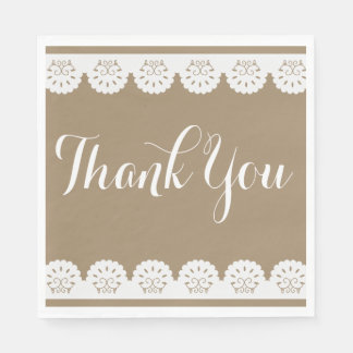 Country Lace Brown Lacy Thank You Wedding Party Paper Napkin
