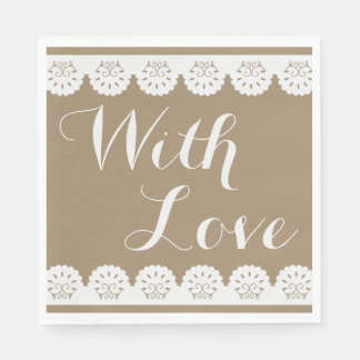 Country Lace Brown Lacy With Love Wedding Party Paper Napkin
